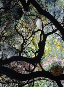 Central Park Trees (2006), acrylic, vinyl collage and pigmented ink jet print on panel, 48 X 44 X 2 in. Photo: Tony Molatore
