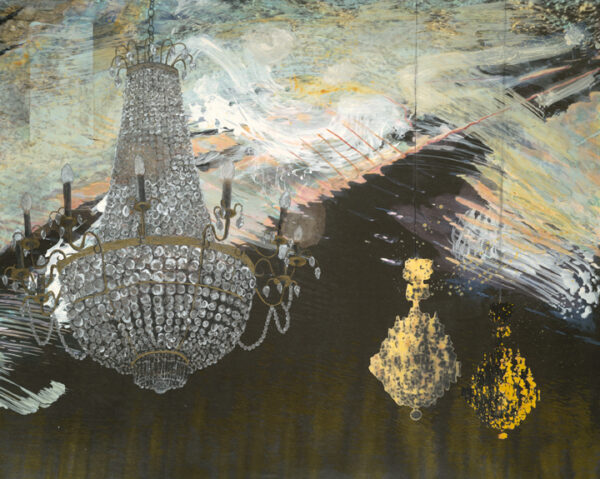 Chandeliers (2012), digital inkjet print, collage and acrylic, 40 1/2 x 50 1/2 x 1 5/8 in.