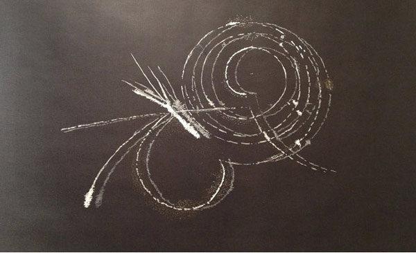 Secret Fields (2013), Acrylic on tar paper, 3 x 4 feet