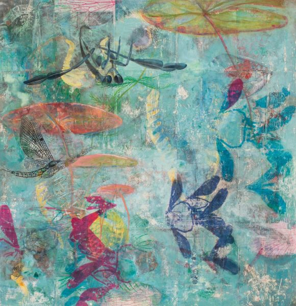 """""""Backswimmer"""" (2014), 42"""" x 41""""mixed media on book pages mounted on paper"""