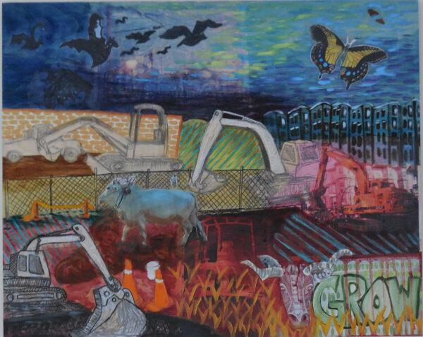 Condo Farming (2015), collage, oil paint on board, 30 x 40