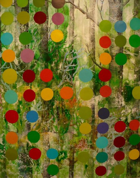 """""""Forest Music"""" (2016), 42"""" x 39"""" mixed media on wallpaper"""