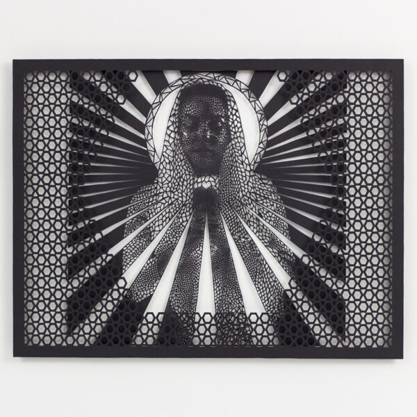 """Immaculate Texting of Mary (2015), hand cut paper, 20 x 20"""""""
