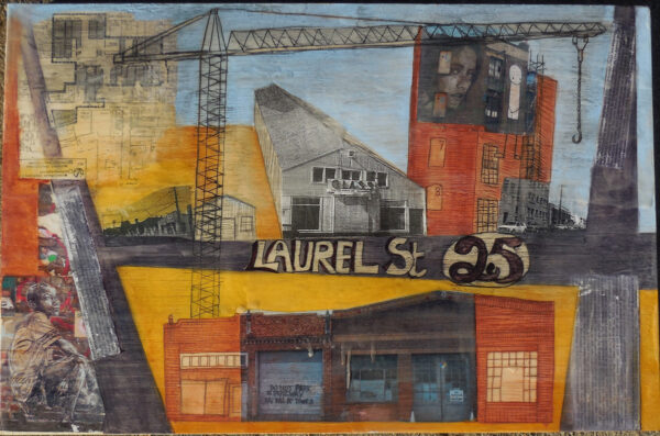 "Laurel St (2016), encaustic, oil paint, photos, and historic images on wood, 20"" x 30"""