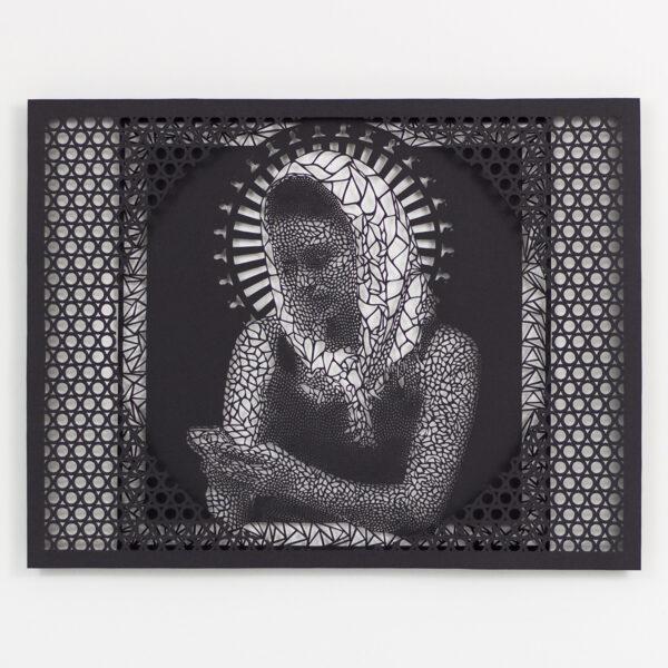 "Virgin Mary of Friendship (2015), hand cut paper, 20 x2 0"""