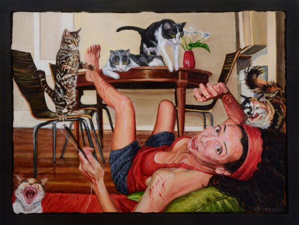 I Needed To Be Rescued From My Rescue Cats (2015), acrylic on panel, 12 x 16