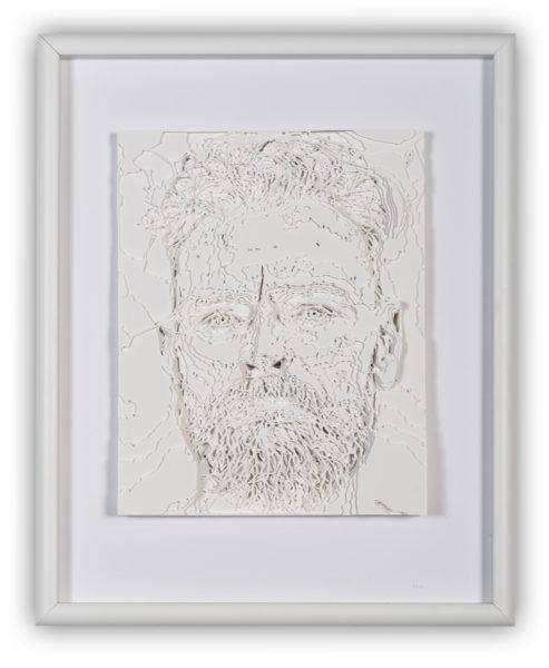 "OldMan (2016), hand cut paper, 16 x 20"""