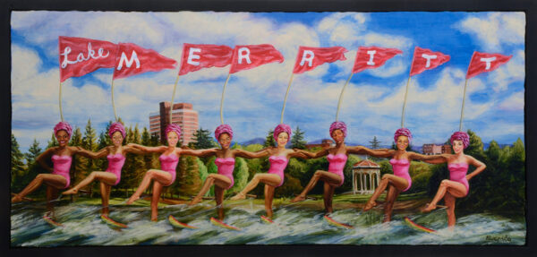 Water Skiing On Lake Merritt (2015), acrylic on panel, 12 x 28