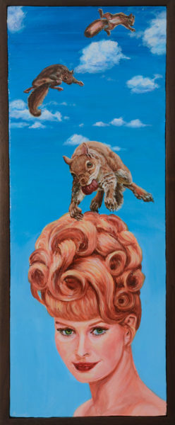 Squirrels Like To Jump on My Hair (2013),  acrylic on panel, 13 x 22