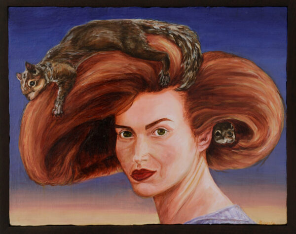 Squirrels Like To Sleep In My Hair (2013), acrylic on panel, 12 x 16