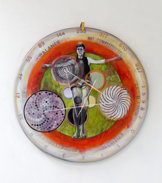 """Space-Luck-Time_Wheel (2016) acrylic and oil on canvas, 60 inches diameter"