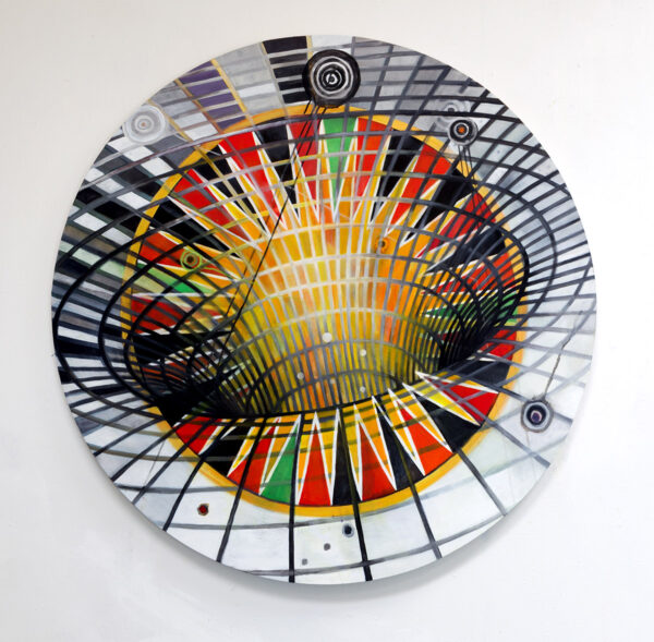 """Wheel of Balance"" (2016) acrylic on wood, metal turning mechanism, brass arrow, 34 inches diameter"