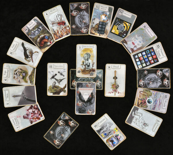 """High Stakes Divination Cards"" (2013 – 2016) 4"" x 7"" each card, installation size variable"