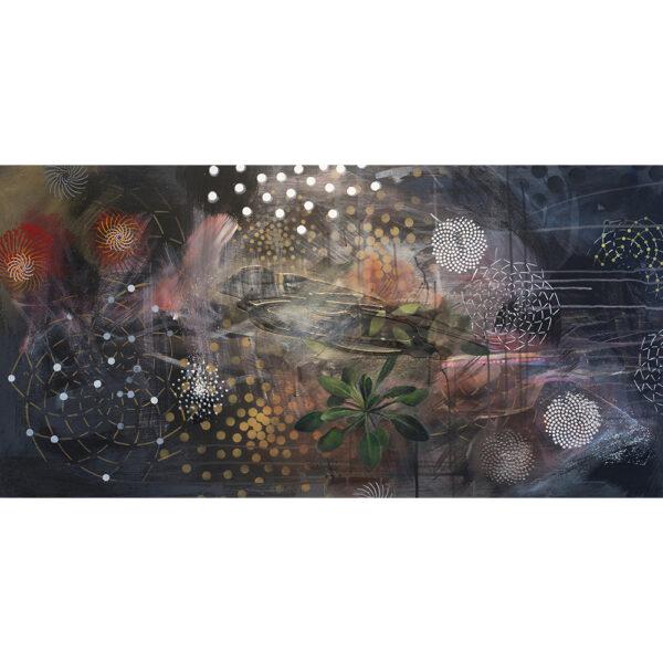 Arabidopsis Night, 24 x 48, acrylic on wood, 2018