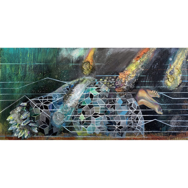 Icosahedrite Meteorite, 24 x 48, acrylic on canvas, 2019