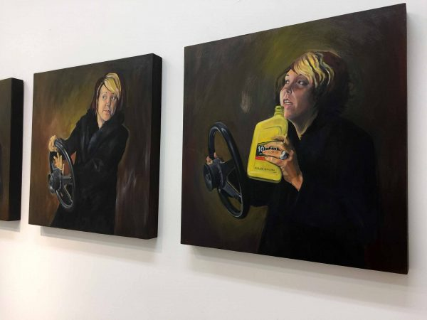 Johanna Poethig : The Guzzler (2007), oil on wood, (5 panels) 20 x 20, (photo credit Nick Dong)