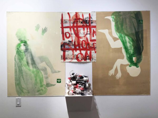 KC Rosenberg: Worth Preserving (2005-2017), monoprint, acrylic painting and found trophies with roots, (photo credit Nick Dong)