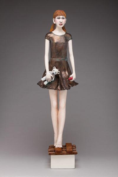 Lost Girl ceramic, acrylic, patinas  30 x 6 x 5