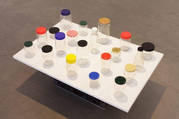 Tony + Me, 2018, glass jars, plastic + metal lids, 24 x 36 x 12 inches