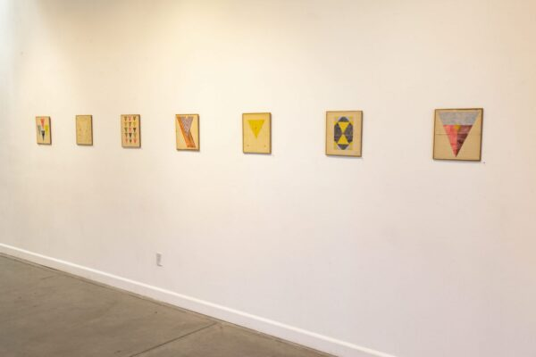Installation view, Yoni Paintings, 1-7, 2018, watercolor on found paper, 9 x 10 inches