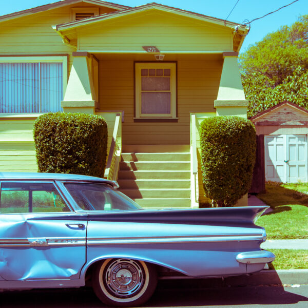 """Dented Blue Chevy Impala"" (2009), Chromogenic print mounted on metal, 12 x 12 inches"