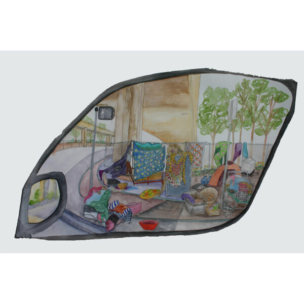 """Car Window 1, watercolor, and color pencil, on paper mounted on wood with plexiglass and a paper mache frame, 22""""x36"""", 2019."""