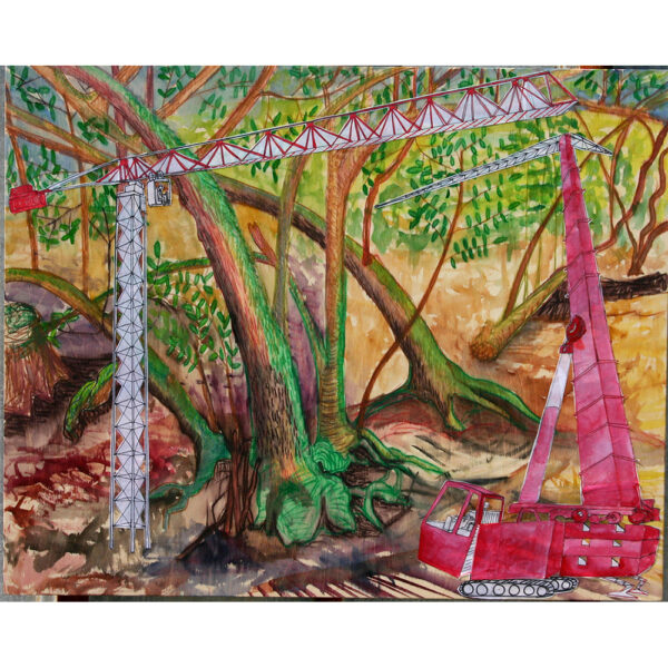 """Woods Crane, watercolor, vellum, collage and paint pens on wood, 24""""x30"""", 2019."""