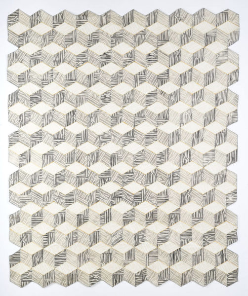 "Paper Marquetry, 2019, Hand block printed washi paper, book binding cloth and thread, 48""x60"""