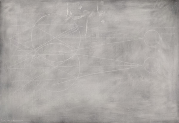 Blackboard 10 ,chalk on black paper, 30 x 44, 2020 (photo by the artist)