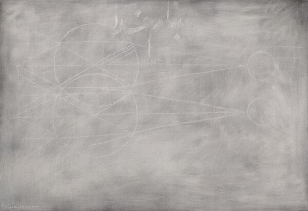 Blackboard 10 ,chalk on black paper, 30 x 44, 2020 (photo by the artist)