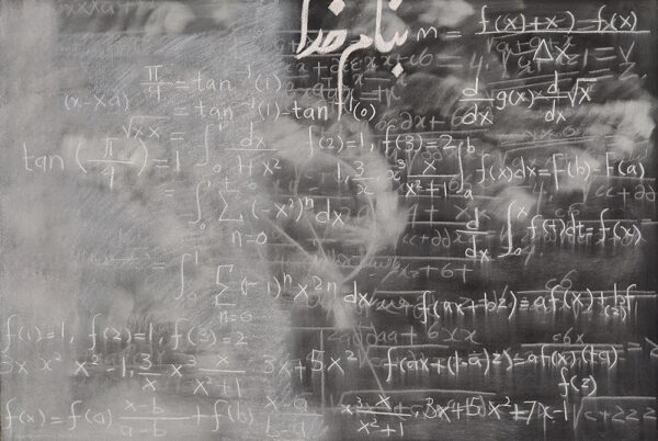 Blackboard 8  ,chalk on black paper, 30 x 44, 2020 (photo by the artist)