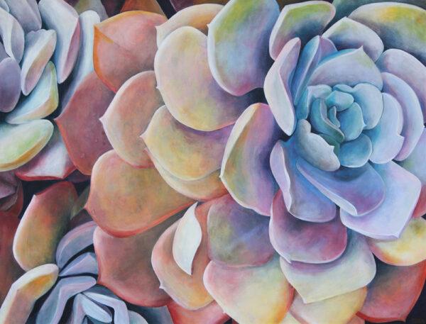 Tara Esperanza, Rainbow Succulents (2020), acrylic on canvas, 38 x 50, photo by artist